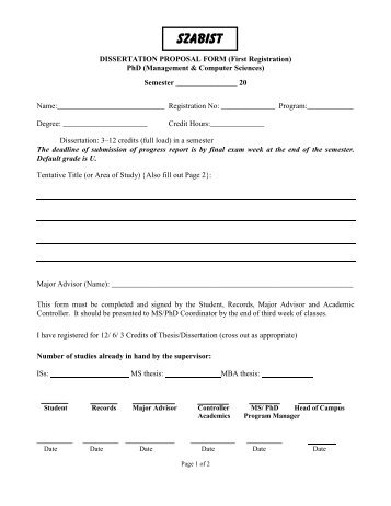 Acad-001: PhD Dissertation Proposal Form (1st Reg.)