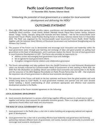 PLGF 2012 Outcomes Document - CLGF - Commonwealth Local ...