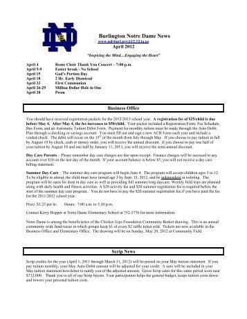 April 2012 - Burlington Notre Dame Schools