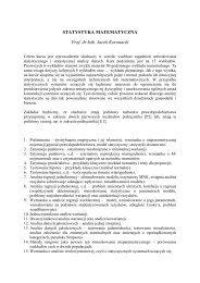 STATYSTYKA MATEMATYCZNA Prof. dr hab. Jacek Koronacki