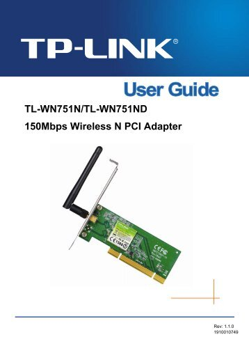 TL-WN751N/TL-WN751ND 150Mbps Wireless N PCI Adapter