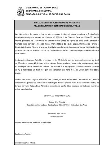 GOVERNO DO ESTADO DA BAHIA - Fundação Cultural do Estado ...