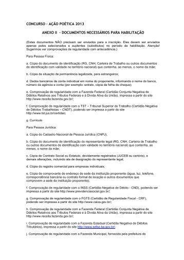 ANEXO II - Relação de documentos