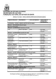 Confira resultado - Fundação Cultural do Estado da Bahia