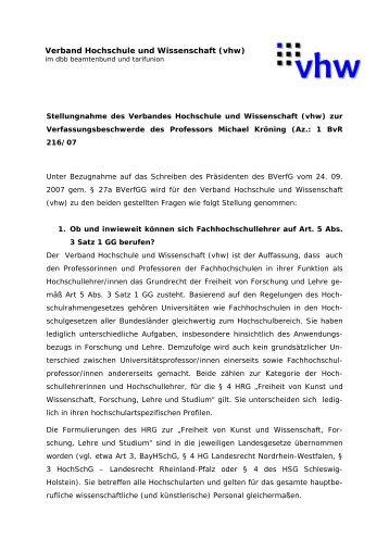 Verband Hochschule und Wissenschaft (vhw)