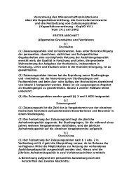 Verordnung des Wissenschaftsministeriums über die ...