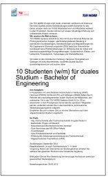 10 Studenten (w/m) für duales Studium - Bachelor of Engineering