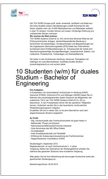 10 Studenten (w/m) für duales Studium - Bachelor of Engineering