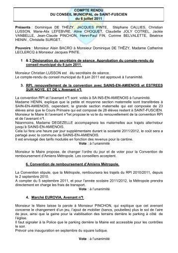 Conseil municipal du 6 juillet 2011 - Saint-Fuscien