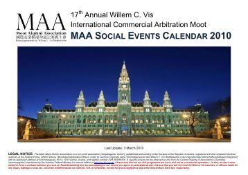 maa social events calendar 2010 - the Moot Alumni Association
