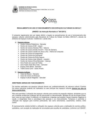 REGULAMENTO DO USO E FUNCIONAMENTO DOS ESPAÇOS ...