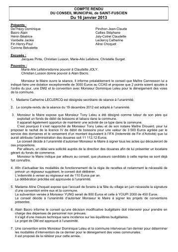 Conseil municipal du 15 janvier 2013 - Saint-Fuscien