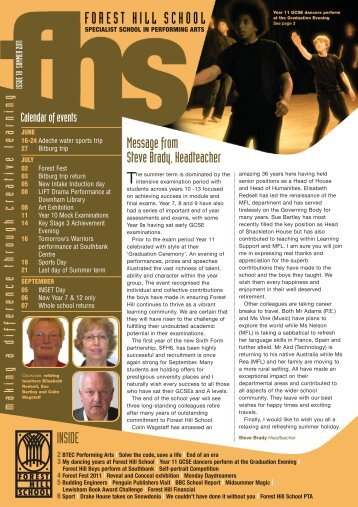 FHS Newsletter Summer 2011 - Forest Hill School