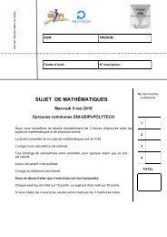 SUJET DE MATHÉMATIQUES - Concours Geipi Polytech