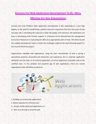 Reasons For Web Application Development To Be  More Effective For Any Organization