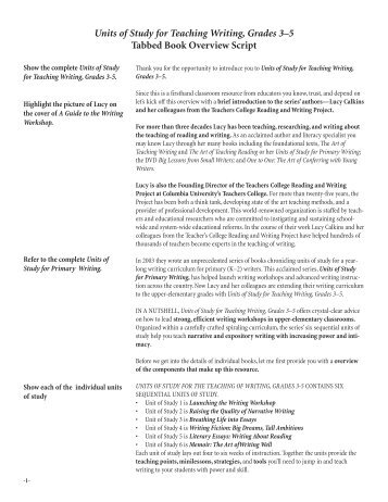Units of Study for Teaching Writing, Grades 3–5 ... - Heinemann