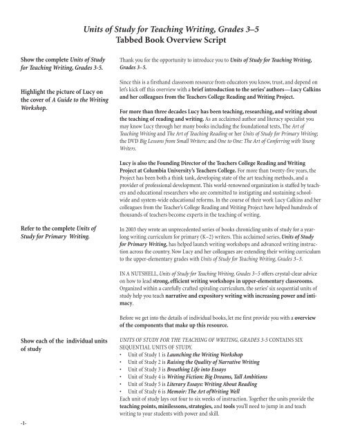 Units Of Study For Teaching Writing Grades 3 5