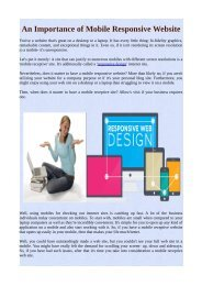 An Importance of Mobile Responsive Website