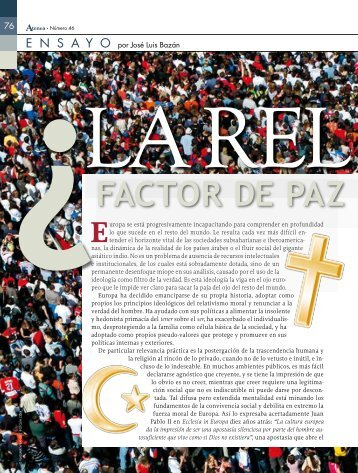 La religión ¿factor de paz o de conflicto?