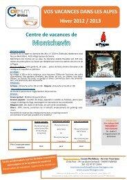 VOS VACANCES DANS LES ALPES Hiver 2012 ... - Cezam Bretagne