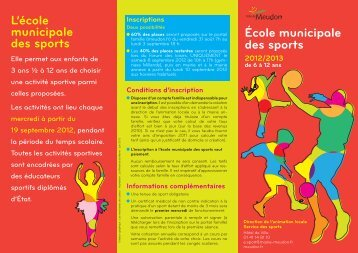 École municipale des sports L'école municipale ... - Ville de Meudon