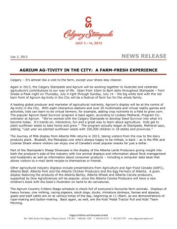 Agrium Ag-Tivity in the City - Calgary Stampede Agriculture