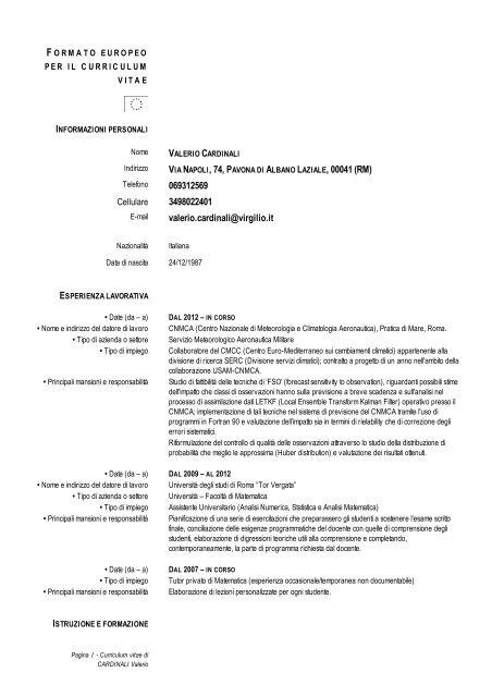 Formato Europeo Per Il Curriculum Vitae Cmcc