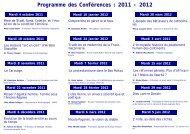 Programme des Conférences : 2011 - 2012 - Tourism System