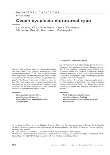 Czech dysplasia metatarsal type