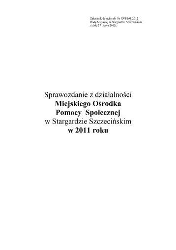 Sprawozdanie 2011 - Miejski Ośrodek Pomocy Społecznej