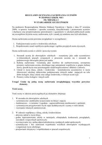 Regulamin oceniania zachowania uczniów - Oficjalna strona ...