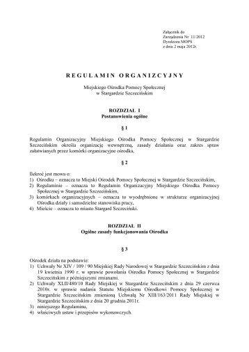 Regulamin organizacyjny - Miejski Ośrodek Pomocy Społecznej