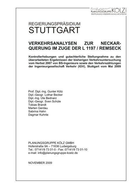 """""""Analyse"""" von der Planungsgruppe Kölz - ARGE Nord-Ost"""