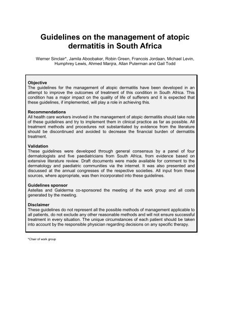 Guidelines on the Management of Atopic Dermatitis ... - Dermatology