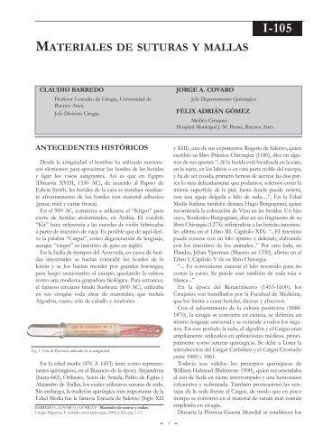 Materiales de sutura y mallas. - sacd.org.ar