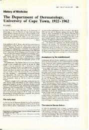 History of the Dermatology dept UCT.