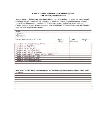 Internship evaluation (Provider)