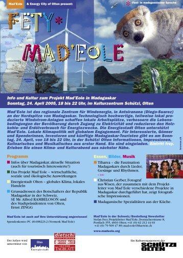 Programm Essen, Bilder, Musik Info und Kultur zum ... - Madagasikara