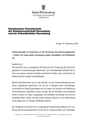 Gemeinsamer Pressebericht der Staatsanwaltschaft Ravensburg ...