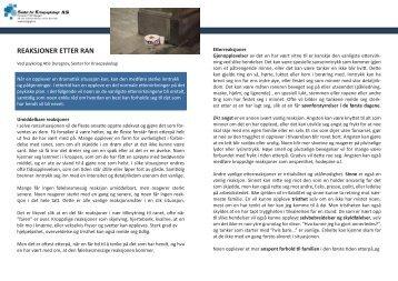 REAKSJONER ETTER RAN - Senter for Krisepsykologi