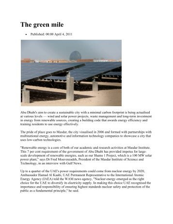 The green mile - Middle East Electricity