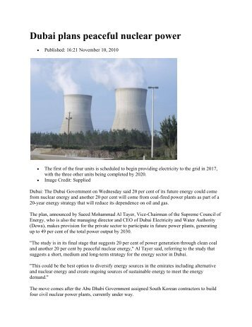 Dubai plans peaceful nuclear power - Middle East Electricity