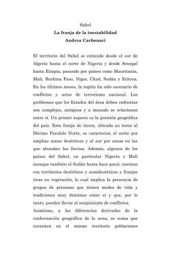 Sahel La franja de la inestabilidad Andrea Carbonari El ... - Misna