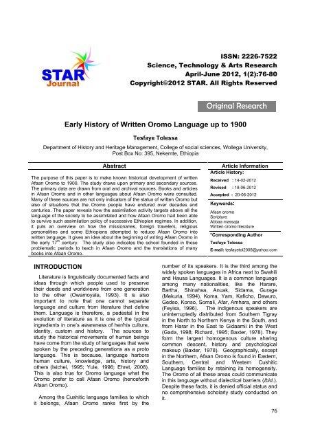 Original Research - STAR Journal