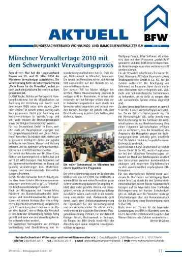 BFW Immobilien Kongress 2010 am 6. und 7. Mai in Berlin - Bvi