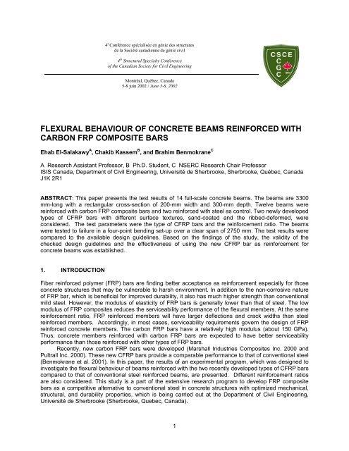 flexural behaviour of concrete beams reinforced with carbon