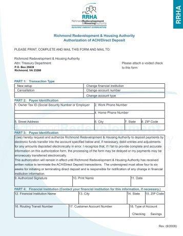 ACH/Direct Deposit Authorization Form - Rrha.com