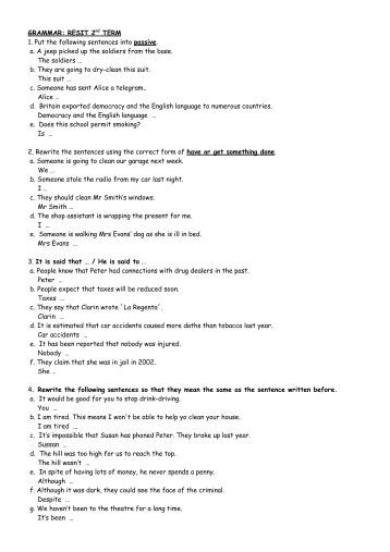 Grammar 2 Worksheet Directions: Rewrite the following sentences ...
