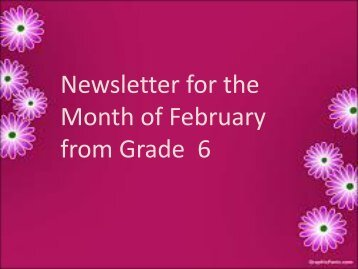 Newsletter for the Month of February from Grade 6 - JSS Private ...
