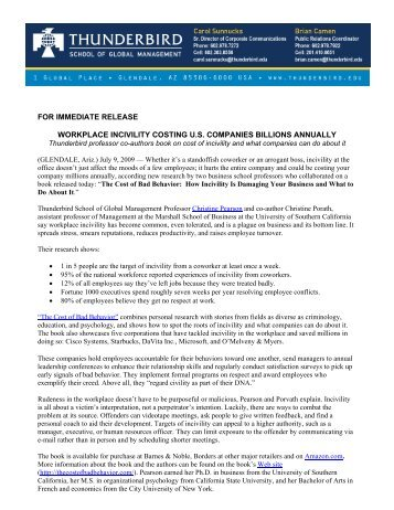 for immediate release workplace incivility costing us companies ...